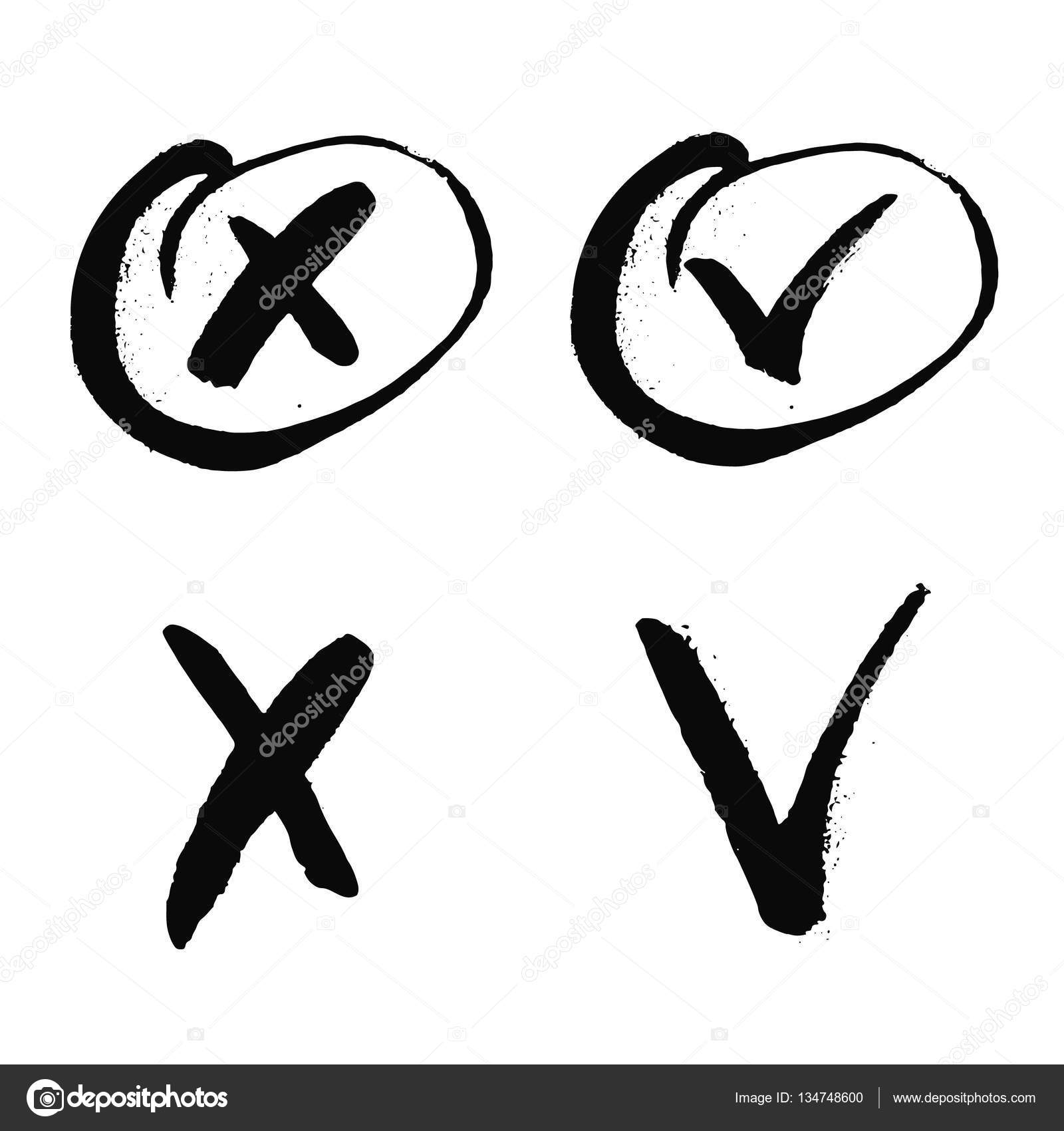 Black cross and tick grunge set for web sites right and wrong signs black cross and tick grunge set for web sites right and wrong signs isolated on white background vector hand drawn ink illustration yes and no symbols buycottarizona Gallery