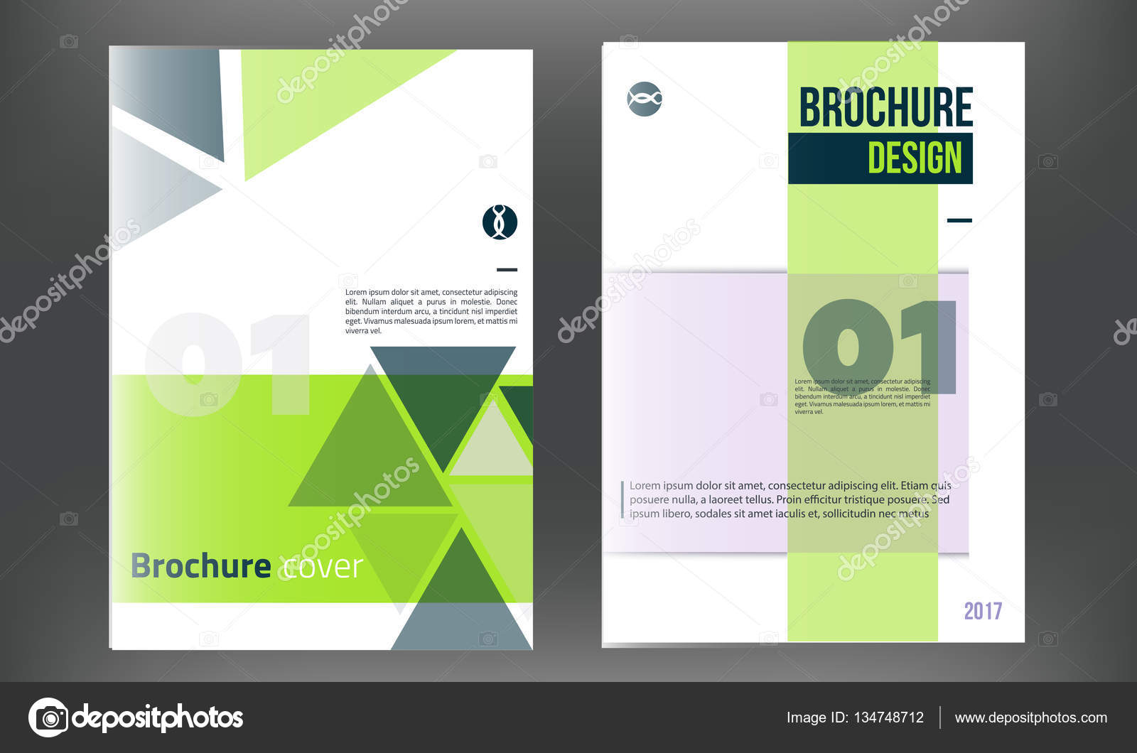 Green Vector brochure cover template  Business annual report