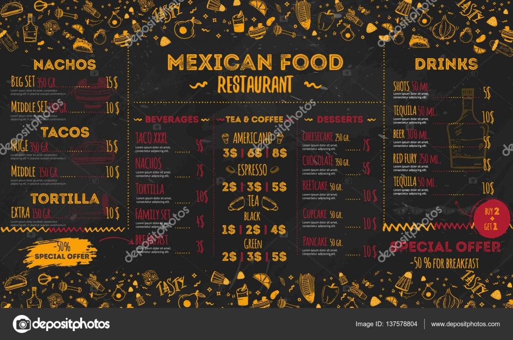 Menú de restaurante de comida mexicana, diseño de plantillas ...