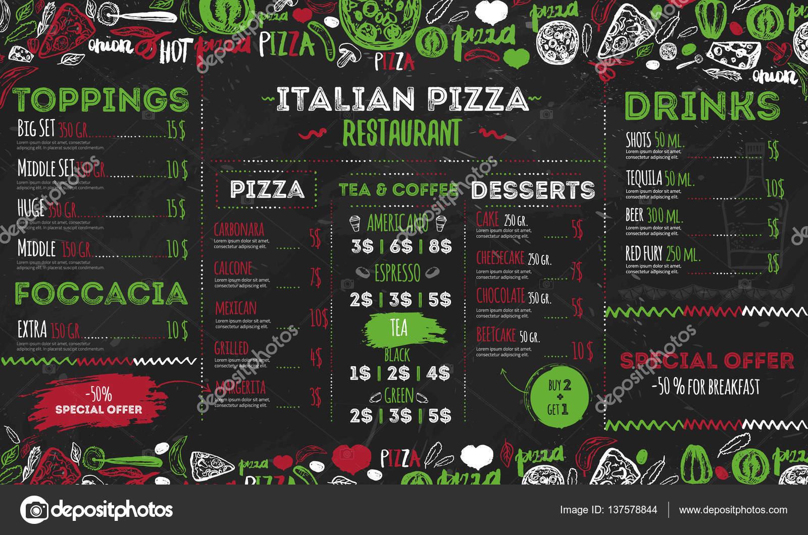 Menú de pizza italiana, diseño de plantillas para restaurantes, café ...