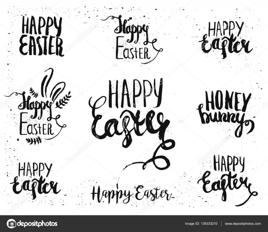 Hand written easter lettering for greeting card text templates with hand written easter lettering for greeting card text templates with easter eggs isolated on white background m4hsunfo