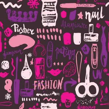 Manicure tools hand drawn vector seamless pattern with lettering and grunge make up items