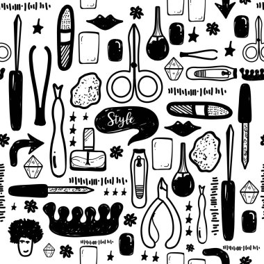 Black Manicure tools hand drawn vector seamless pattern with lettering and hand drawn make up items