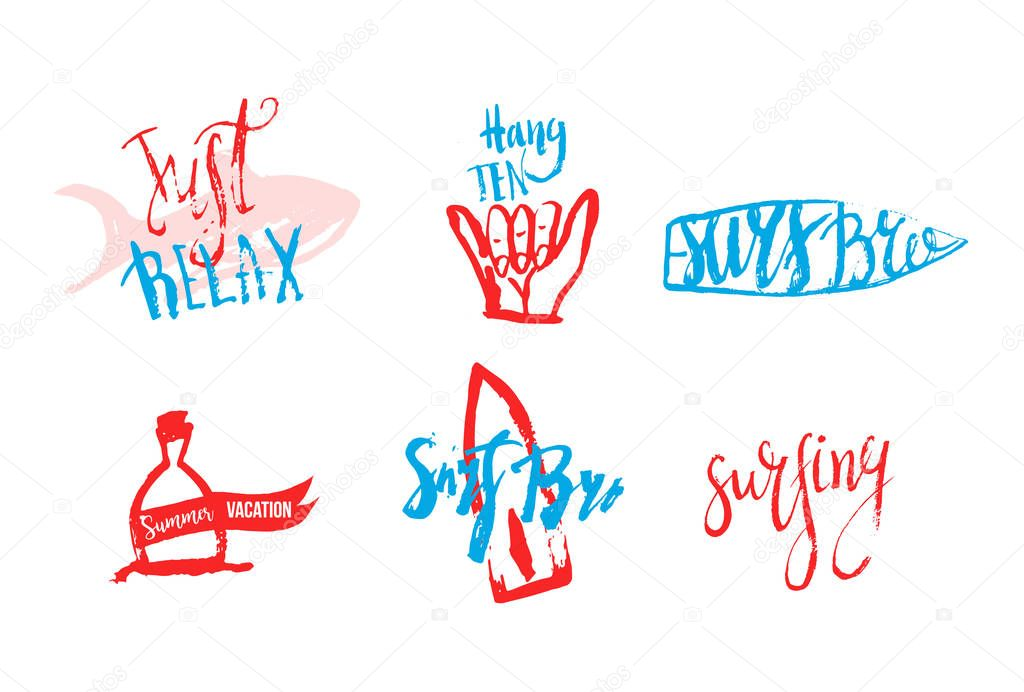 Vector surfing club logos in grunge hand drawn style. Hipster surf symbols with fish, surfboard, shaka