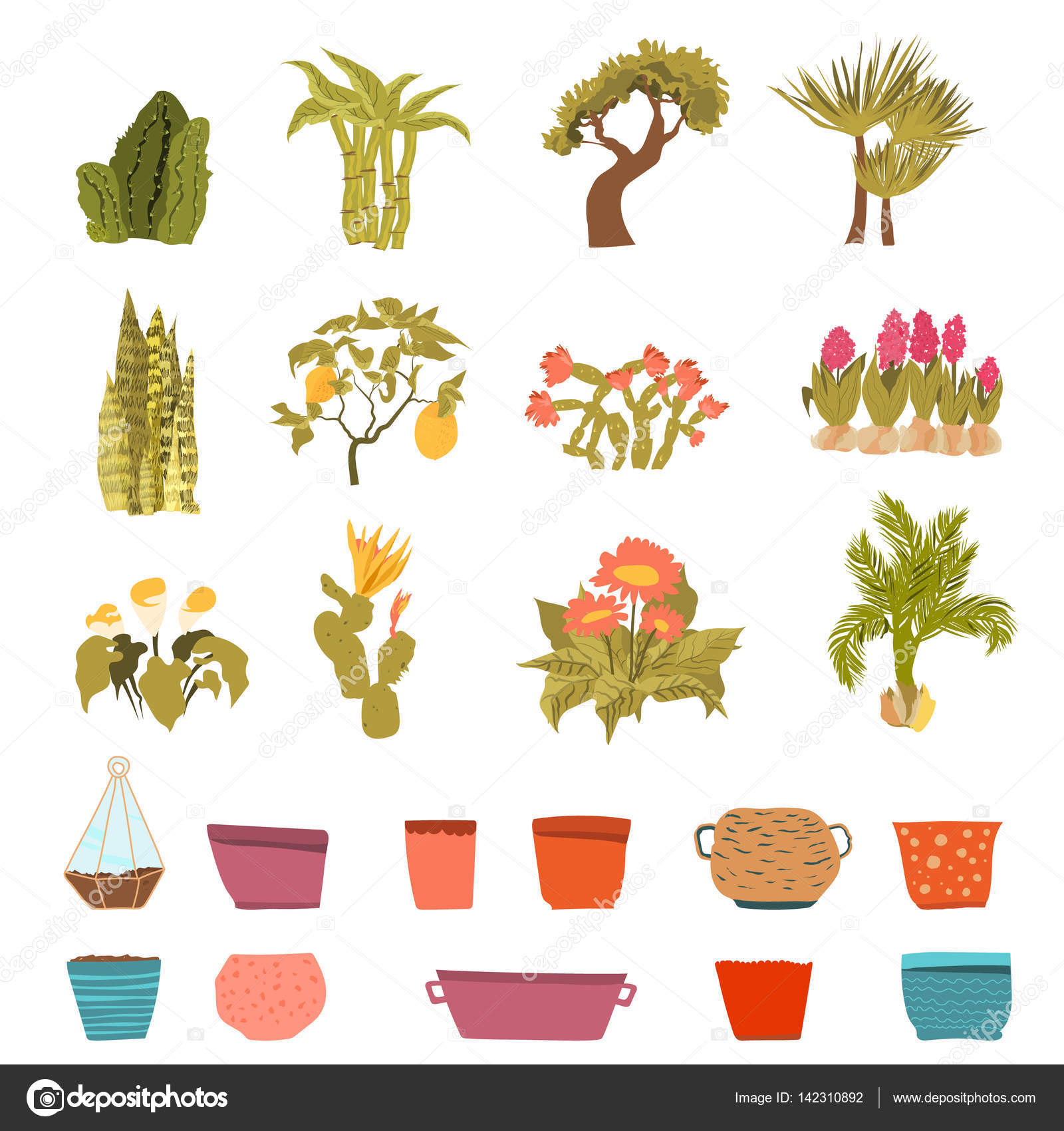 Set of green house plants with pots with leaf and flowers in cartoon style flowerpot isolated objects for creation unique houseplants collection vector