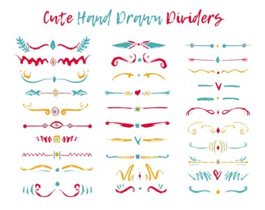Colorful Set of handdrawn divide borders in ink. Swirls and dividers for design. Vector stylish border