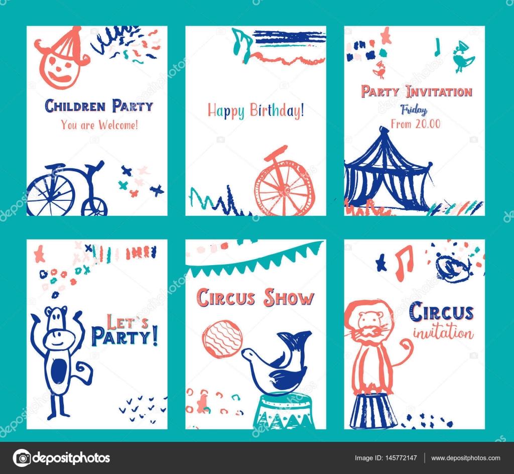 Kid Birthday Invitation Card Design Set With Circus Elements Vector