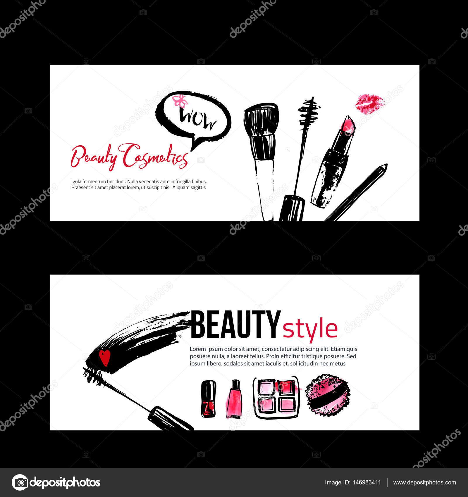 Banner-Vorlagen für Maskenbildner — Stockvektor © Alena_St #146983411