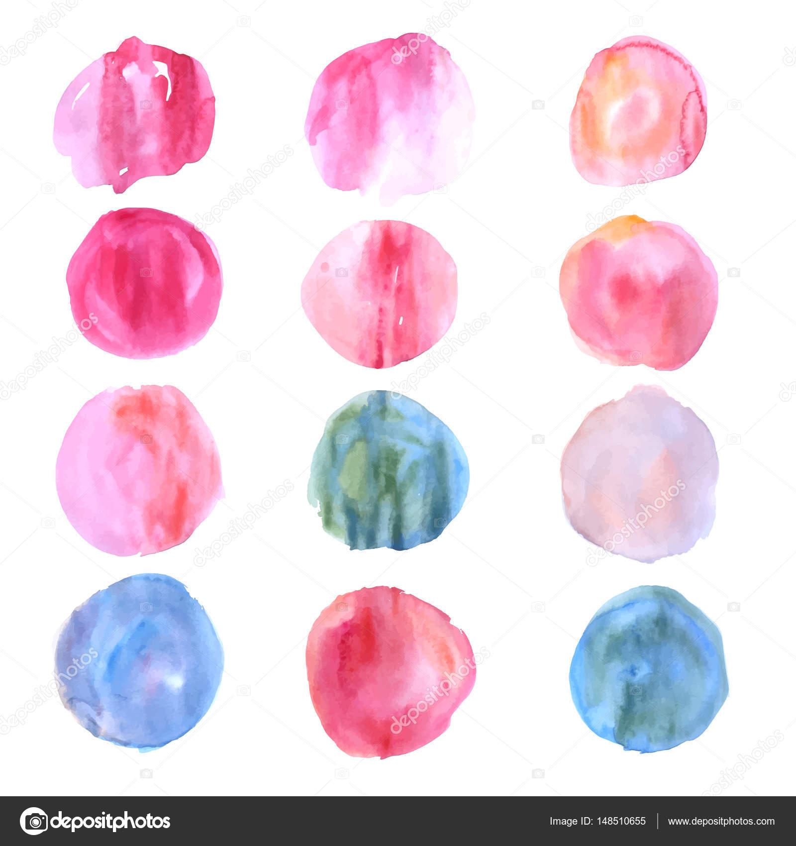 Cercles de tache aquarelle en couleurs chaudes et froides ...
