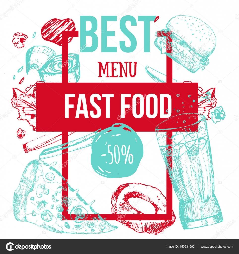 Colorido modernos Fast food mano menú dibujado la bandera. Diseño de ...