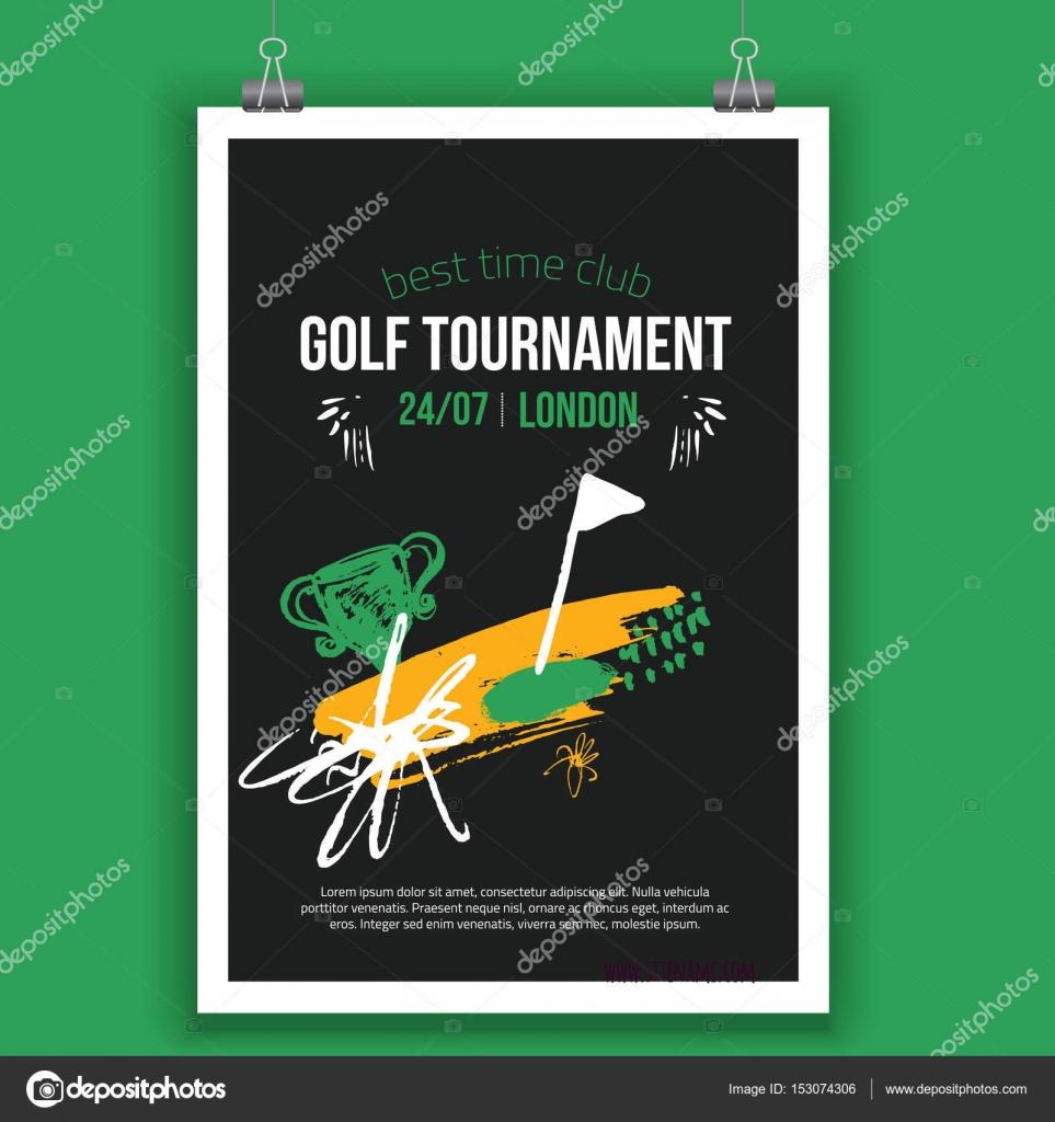Vektor-Golf-Poster-Design mit Hand gezeichnet Elemente. Vorlage für ...