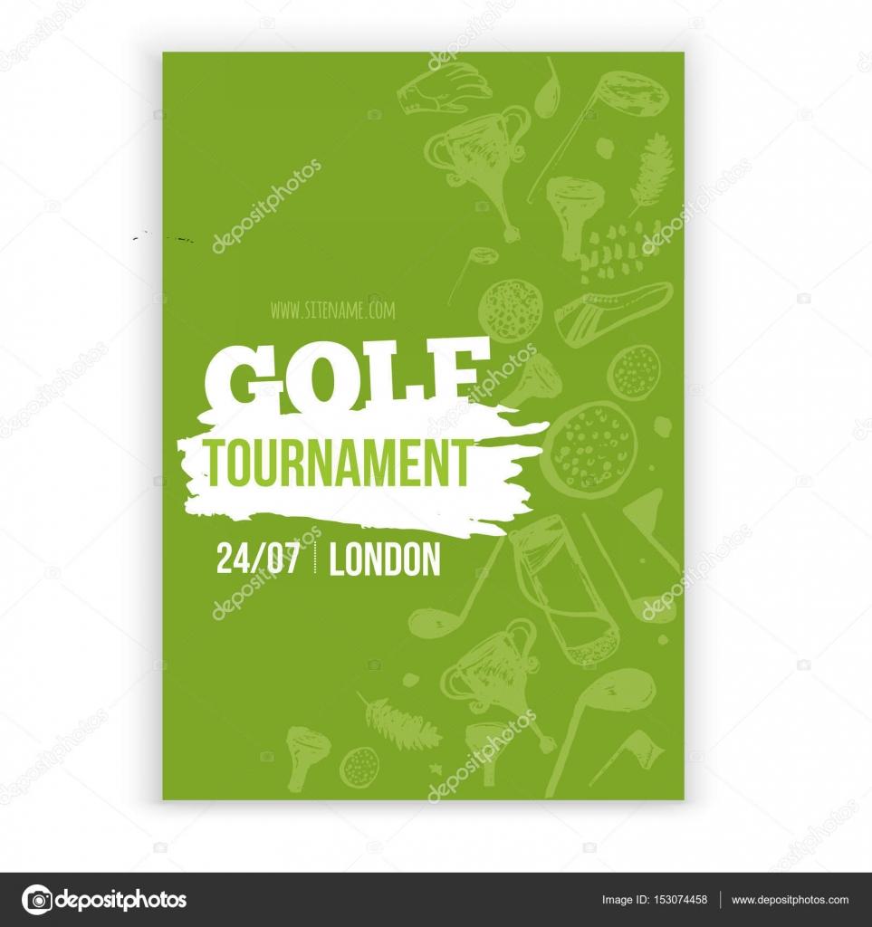 Golf flyer vector illustration tournament design invitation with golf flyer vector illustration tournament design invitation with hand drawn grunge elements easy to stopboris Choice Image