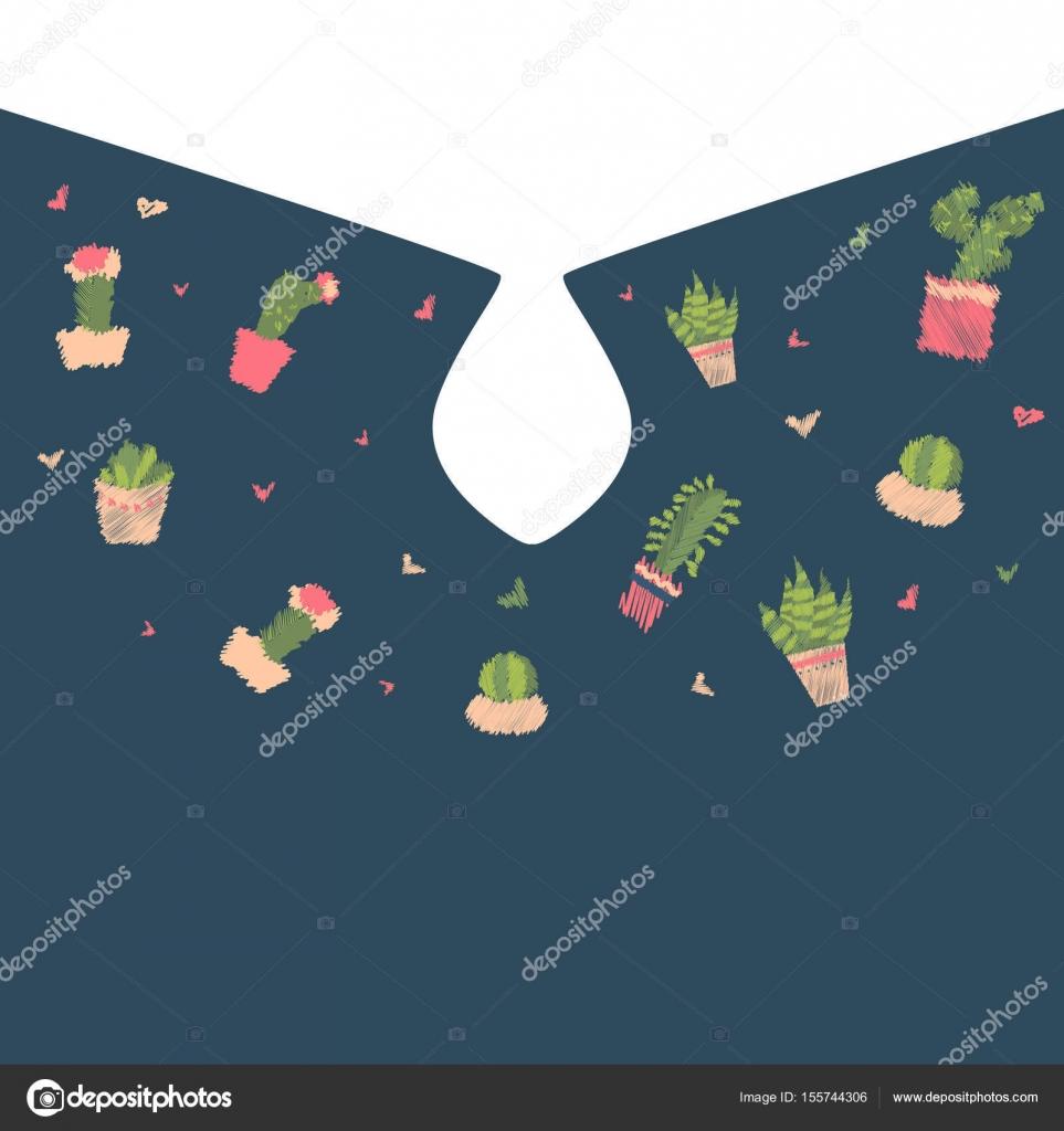 8f170fa0ad5f Neckline κεντητικής κάκτος t-shirt Εκτύπωση. Χαριτωμένο σαρκώδη μόδα  κέντημα ύφασμα σχεδιασμό για γυναίκα– εικονογράφηση αρχείου