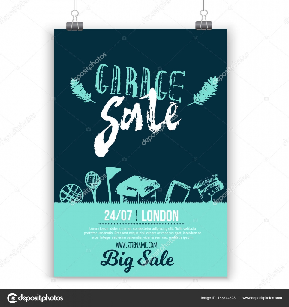 garage sale poster layout with hand drawn elements and lettering in