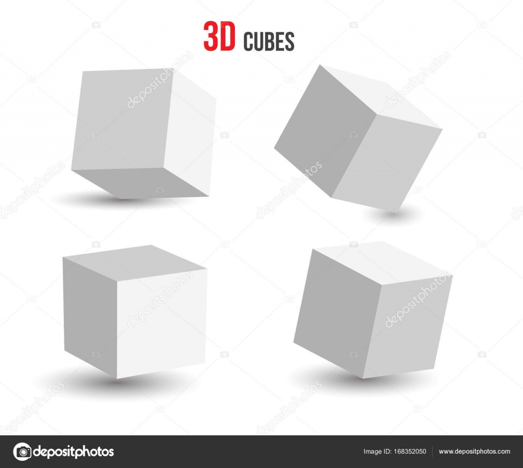 Set of Cube icons in perspective view with shadow isolated