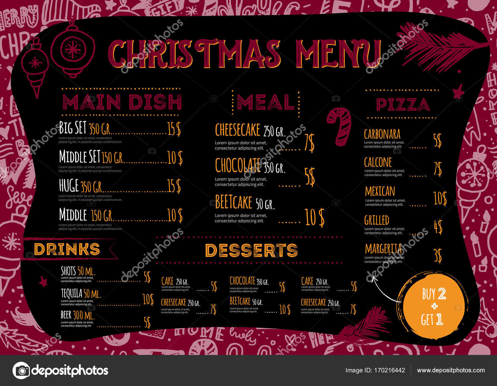 vector christmas menu design with hand drawn doodle lettering