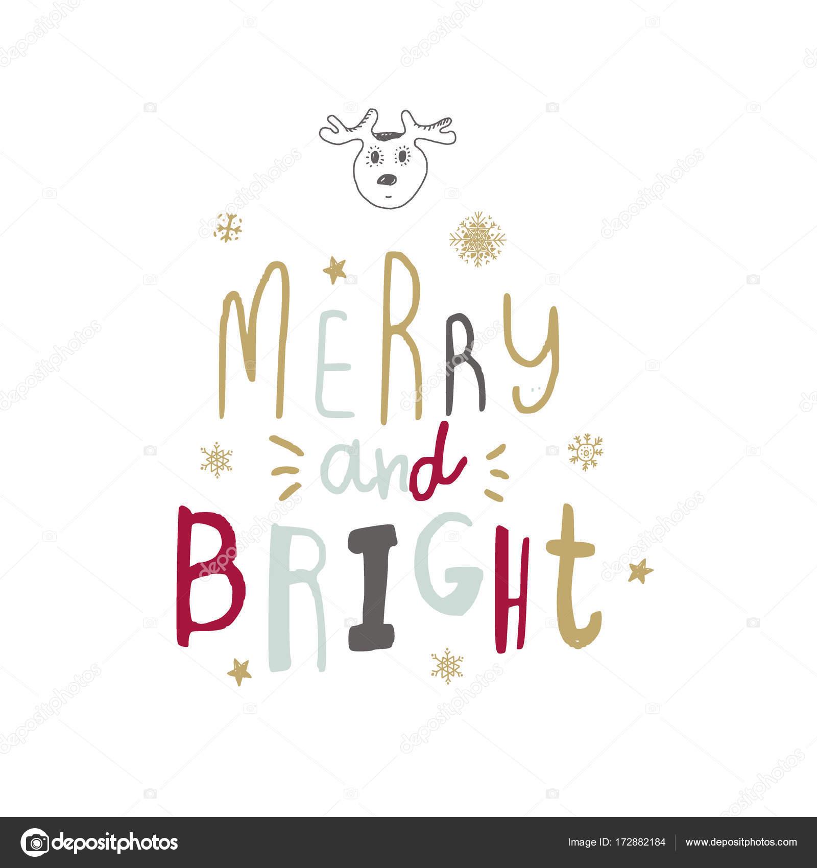Vector Hand Written Christmas Greeting Elegant Lettering Winter