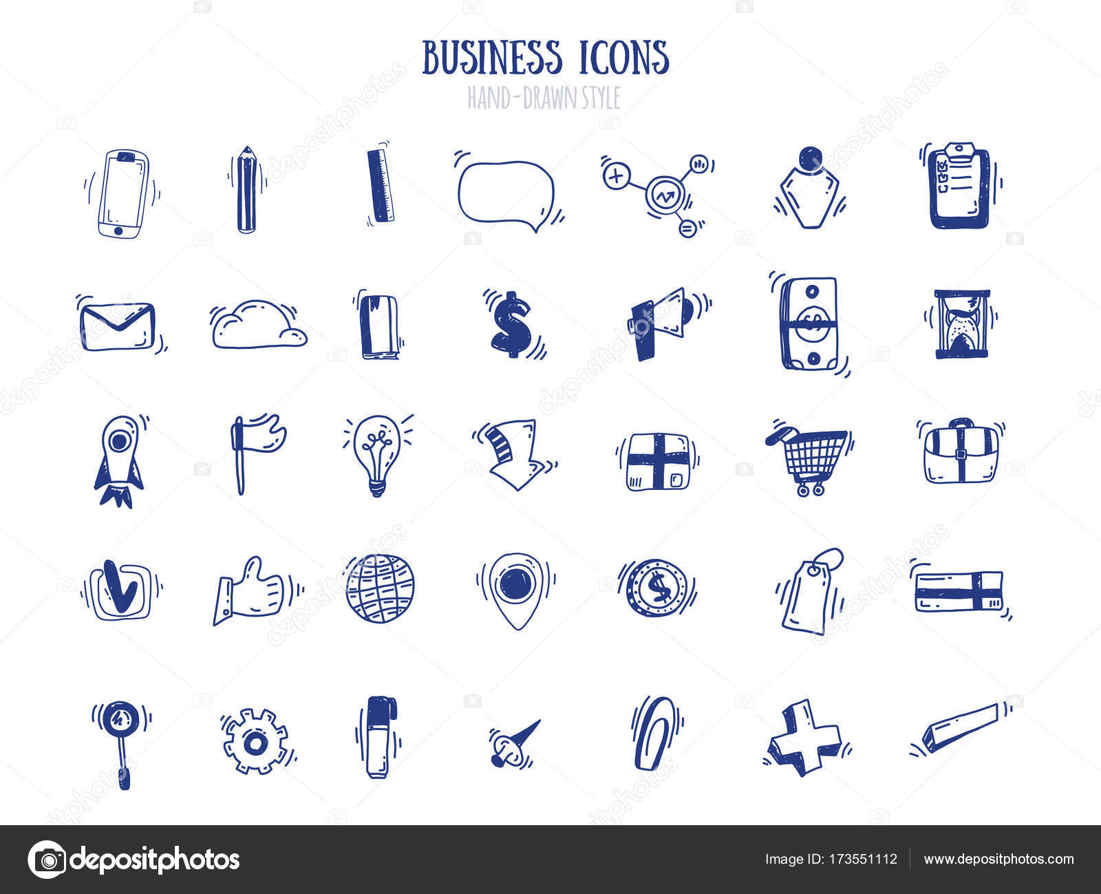 business doodle marketing set in free style blue pen outline icons