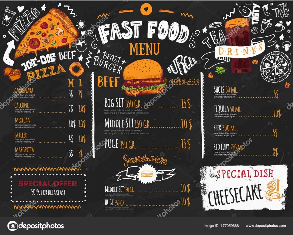 Diseño de menú de comida rápida en pizarra oscuro con letras y ...