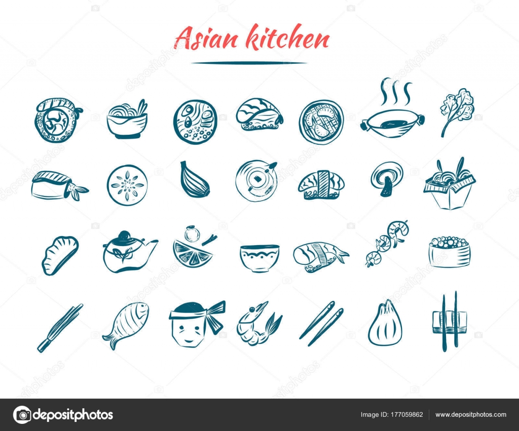 Asian food sketch icon set. Chinese and Thai restaurant food ...