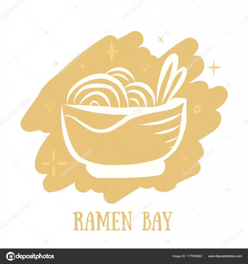 Ramen Essen asiatische Küche Logokonzept im Stil der Sketch auf ...