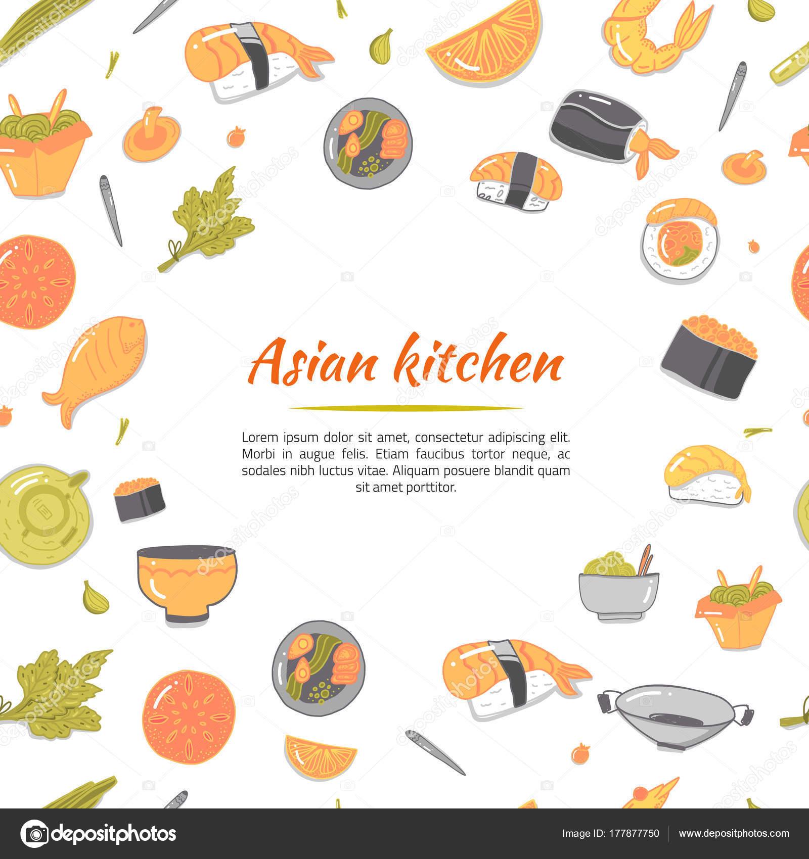 Asian kitchen. Japanese icons on white backdrop. Vector cartoon ...