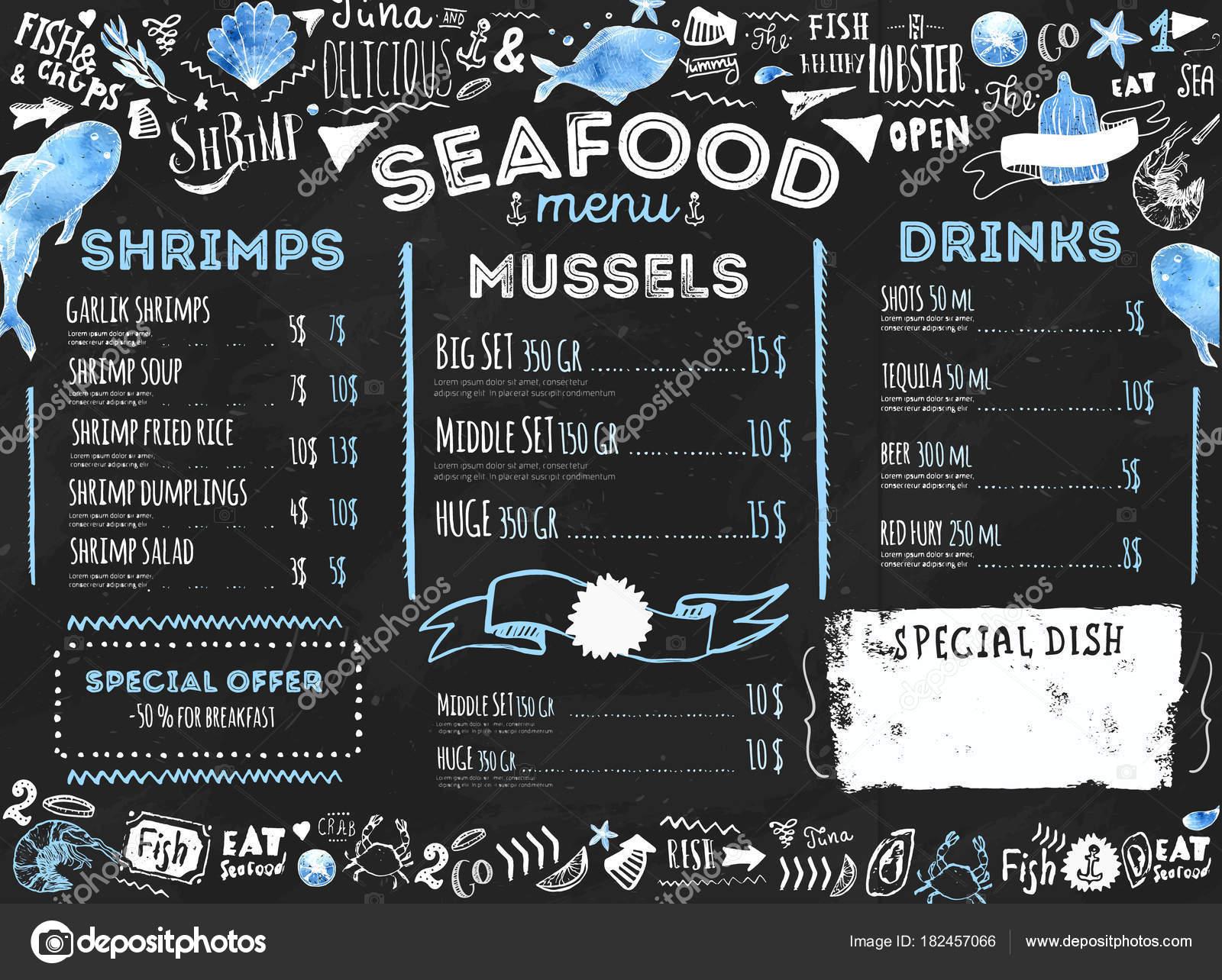 de mariscos con pescado dibujo y letras. Identidad de restaurante ...