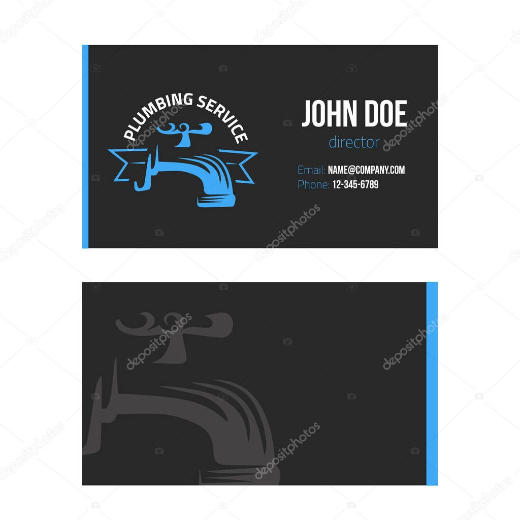 Business card for plumbing service on dark background. vector design illustration