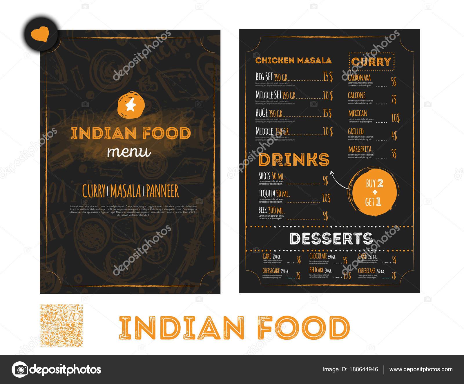Diseño de menú de comida India dibujado a mano con bocetos y letras ...