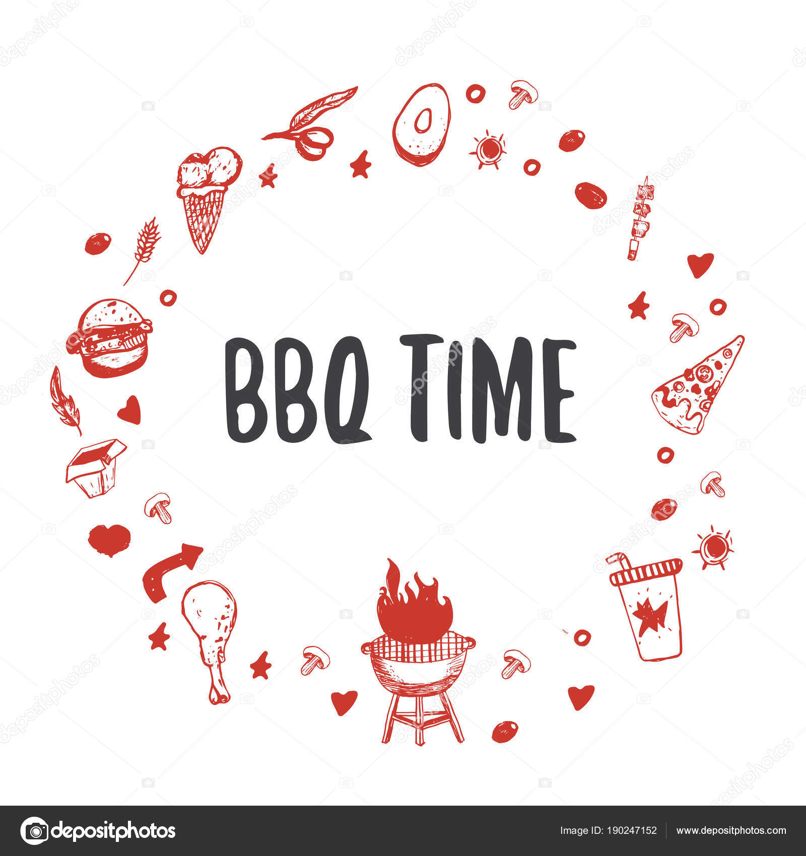 barbecue circled template for your party with grunge icons and frame