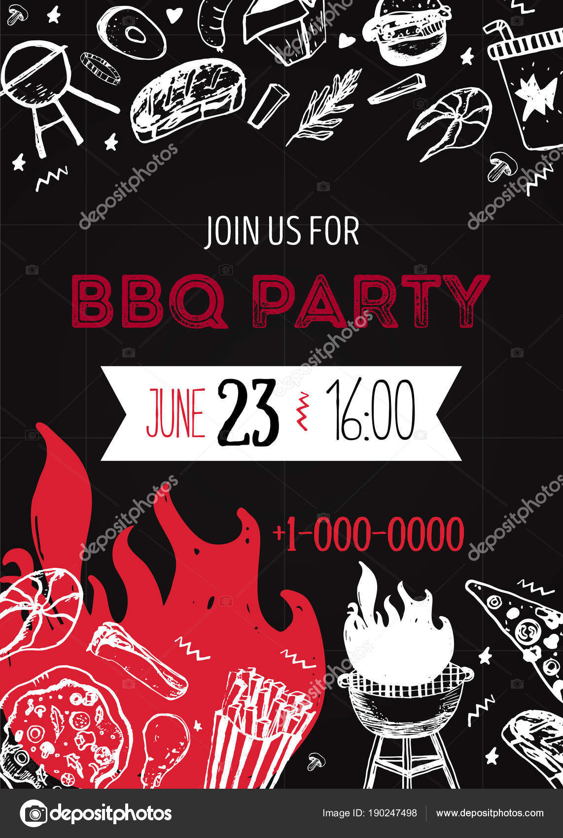 Grunge BBQ Party Invitation Template for posters, flyers. Barbeque ...