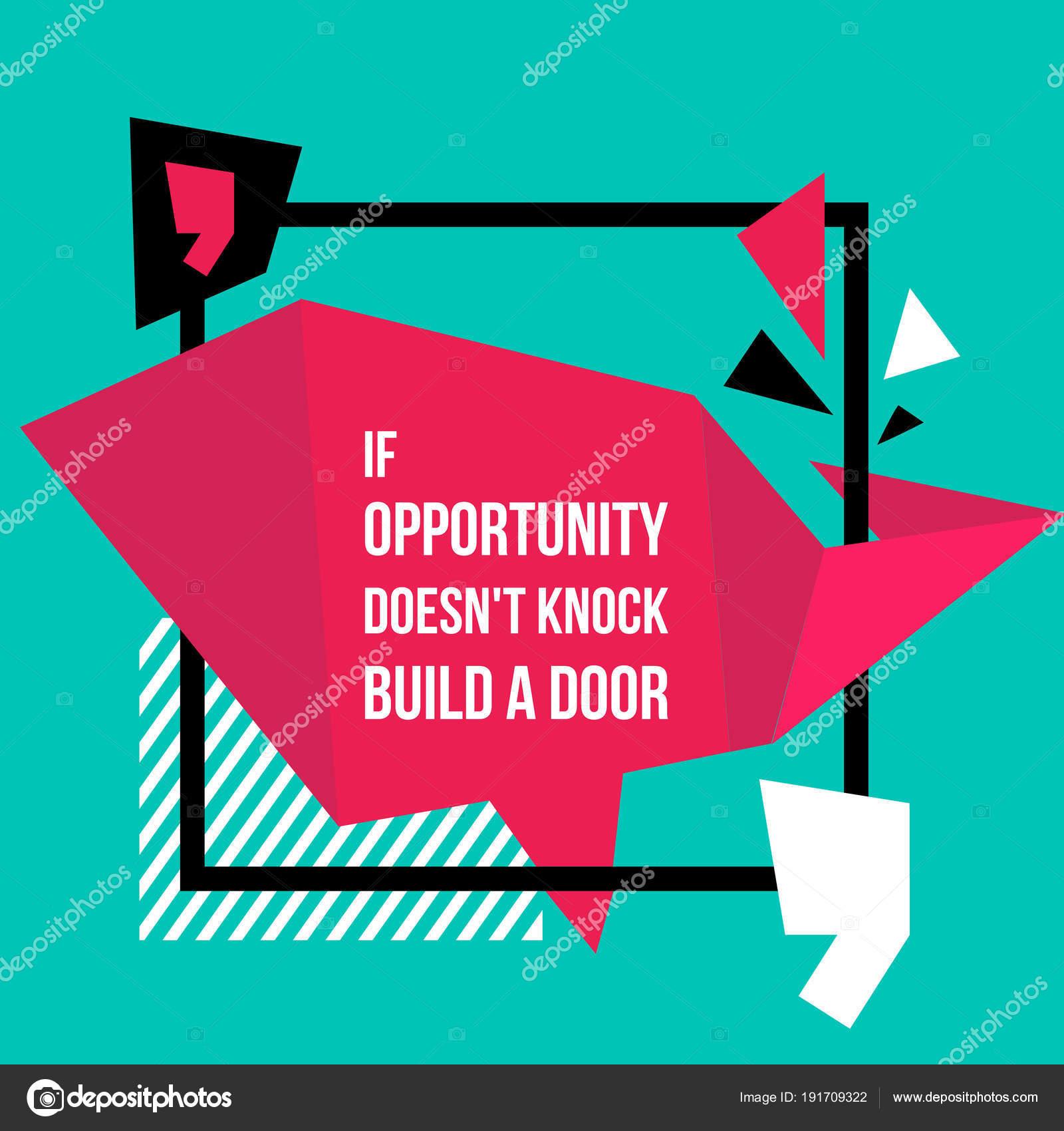 Marco con cita sobre oportunidad. Señal de símbolo de la cita ...