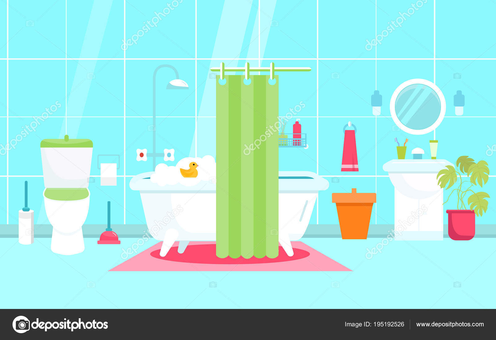 Vector Bathroom illustration in Flat style with toilet, duck. Shower ...