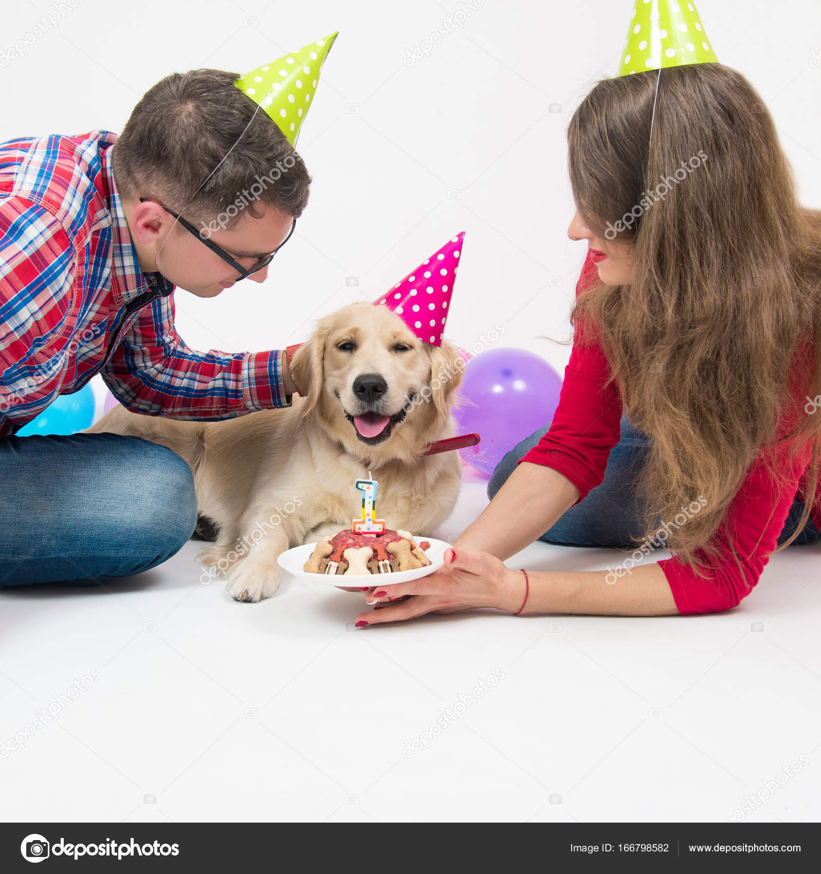 Happy Birthday Dog With Family In Hats Stock Photo