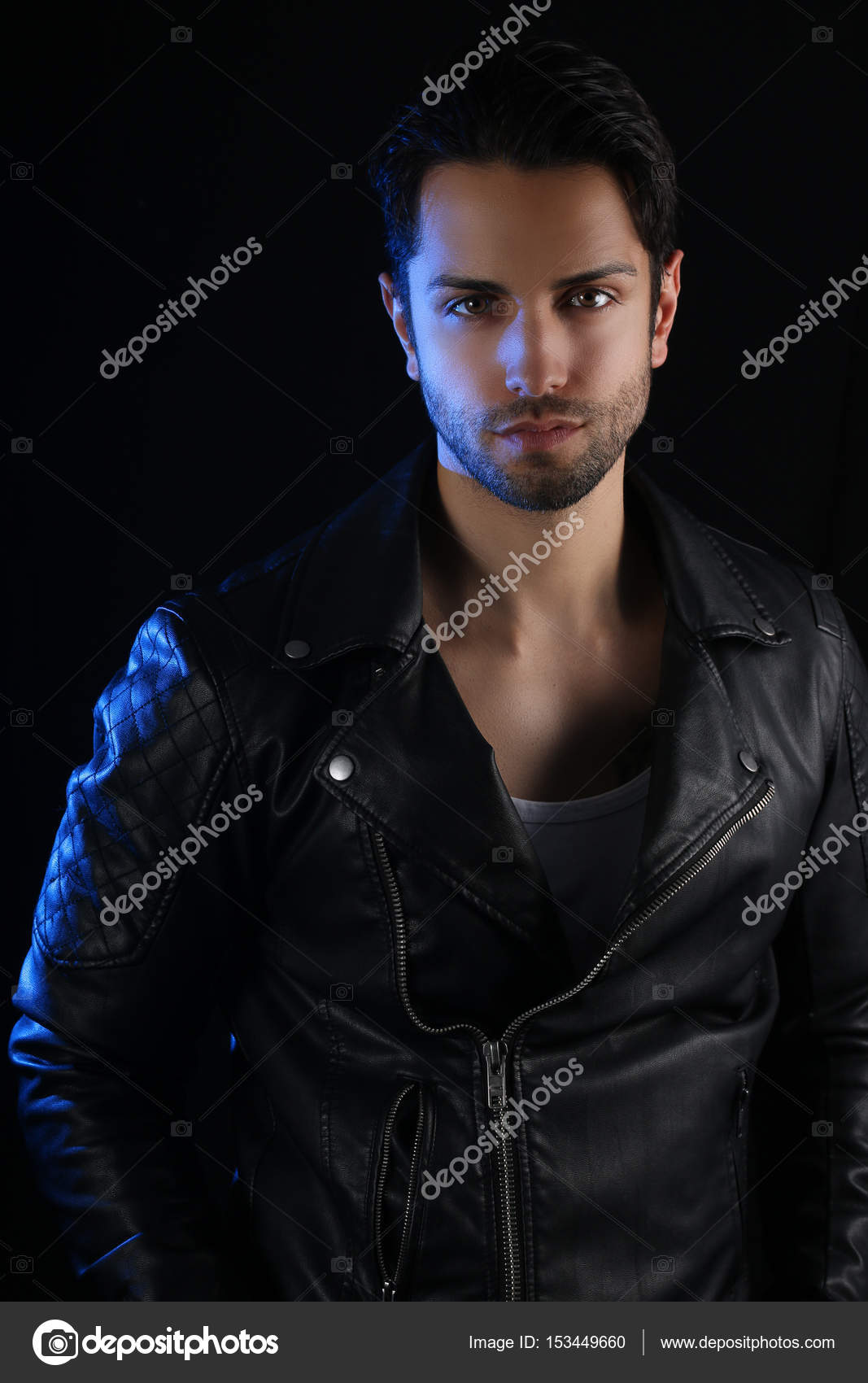 Book Cover Black Jacket ~ Book cover for a vampire novel handsome man wearing a leather