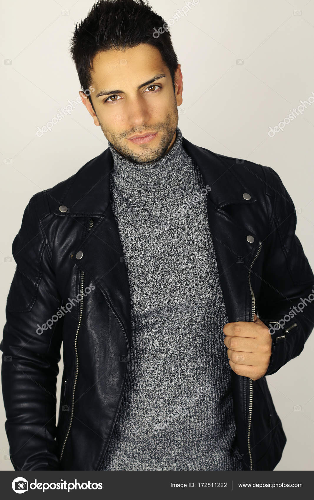 Gorgeous And Stylish Handsome Young Man Wearing A Leather Jacket