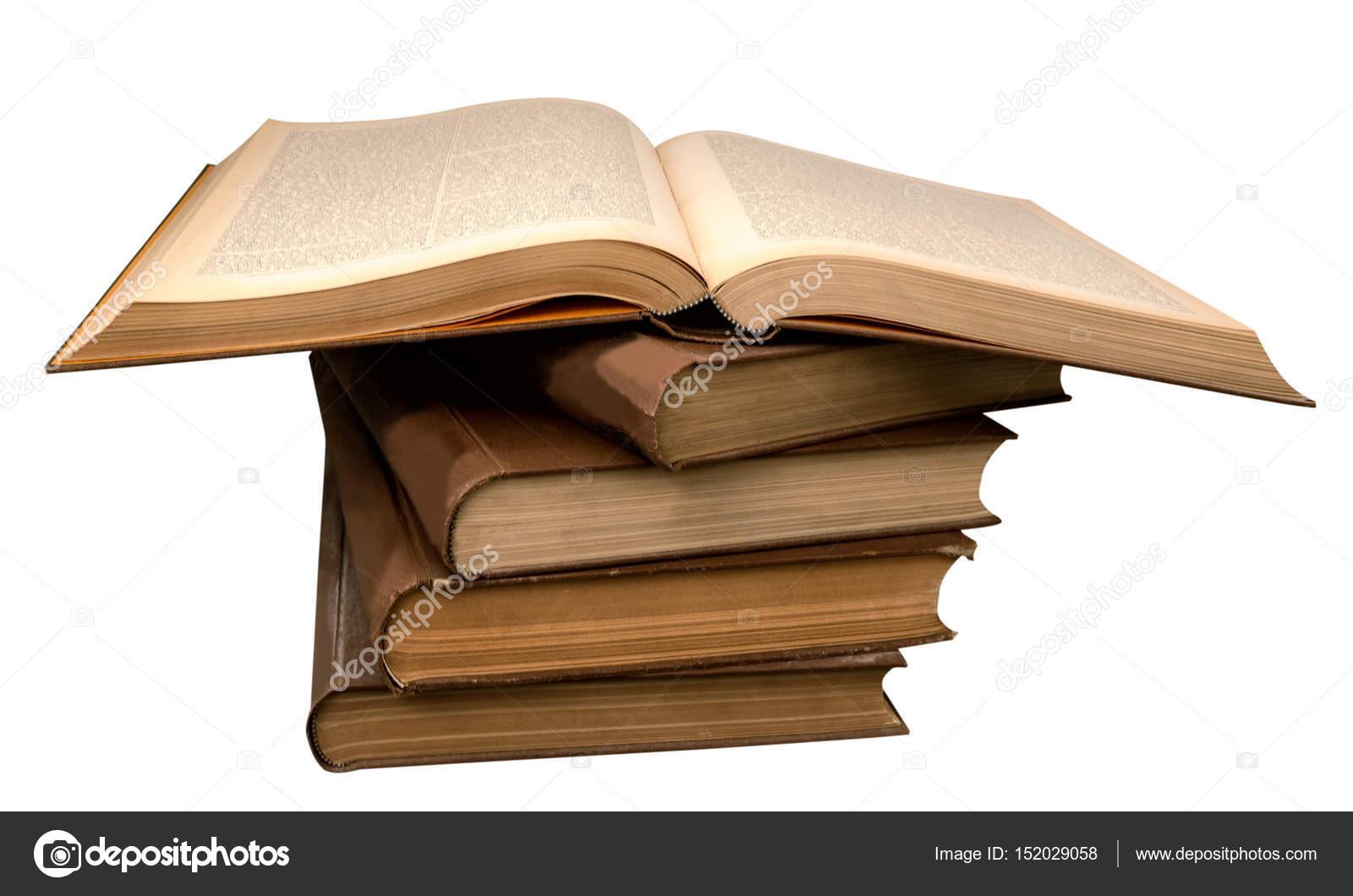 Livres Anciens Dans Un Tas Et Un Livre Ouvert Photographie