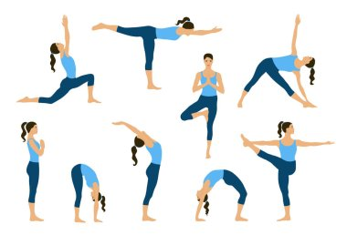 Set of yoga poses. Young women do yoga exercises.