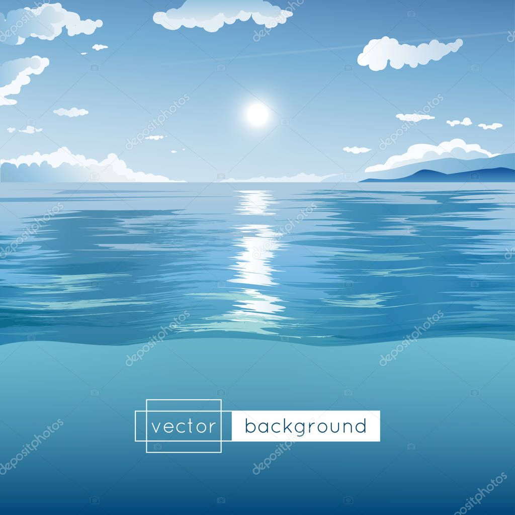 Vector landscape with sea, blue sky, sun, clouds and hills