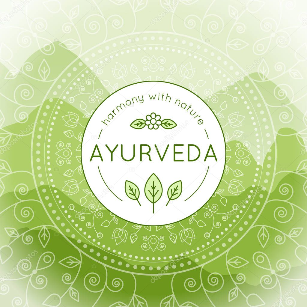 Vector Ayurveda illustration with mountains landscape