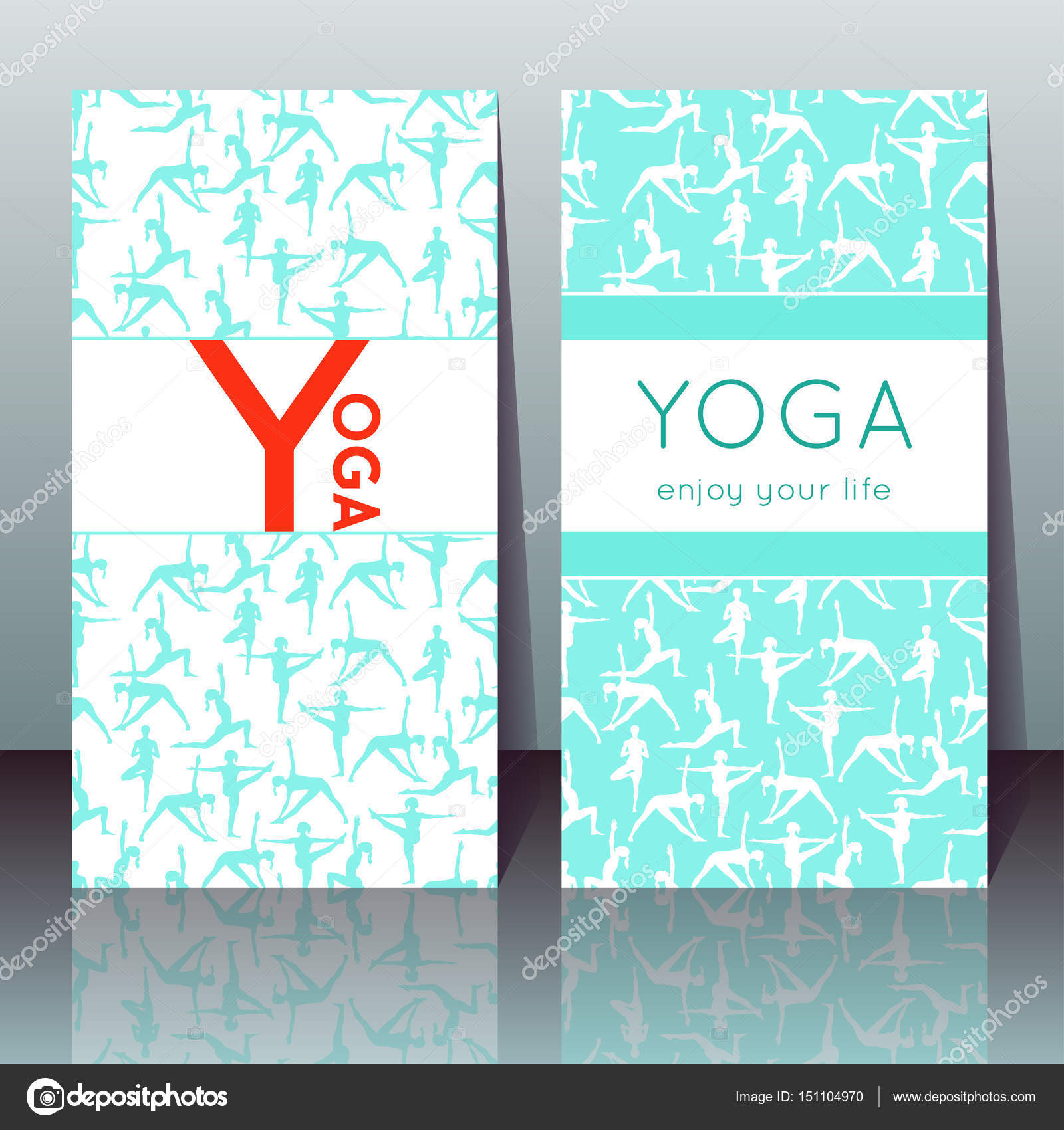 Vector yoga cards with girls in yoga poses and sample text stock vector yoga cards with girls in yoga poses and sample text for use as a template of banner poster for yoga day invitation for yoga center stopboris Image collections