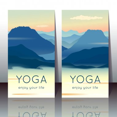 Vector yoga cards with morning mountain landscape and sample text