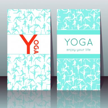 Vector yoga cards with girls in yoga poses and sample text
