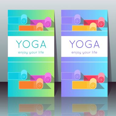 Vector yoga cards with yoga mats, sample text