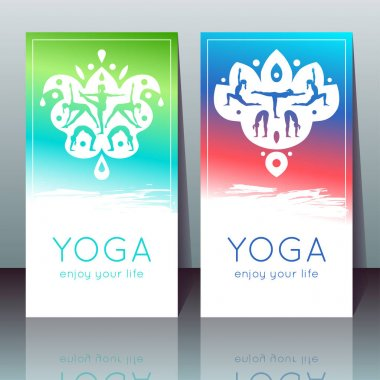 Vector yoga cards with girls in yoga poses, ethnic indian ornament and sample text