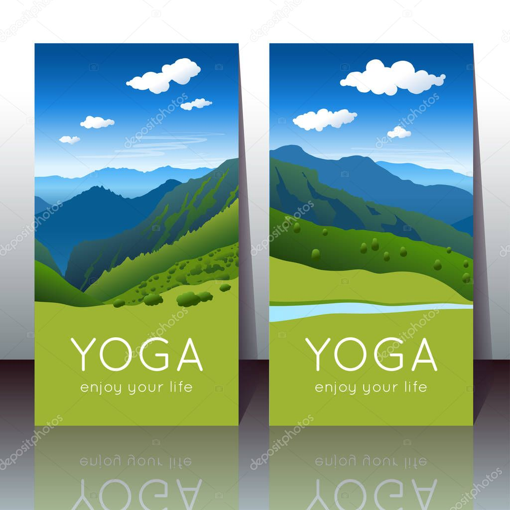 Vector yoga cards with summer mountain landscape and sample text