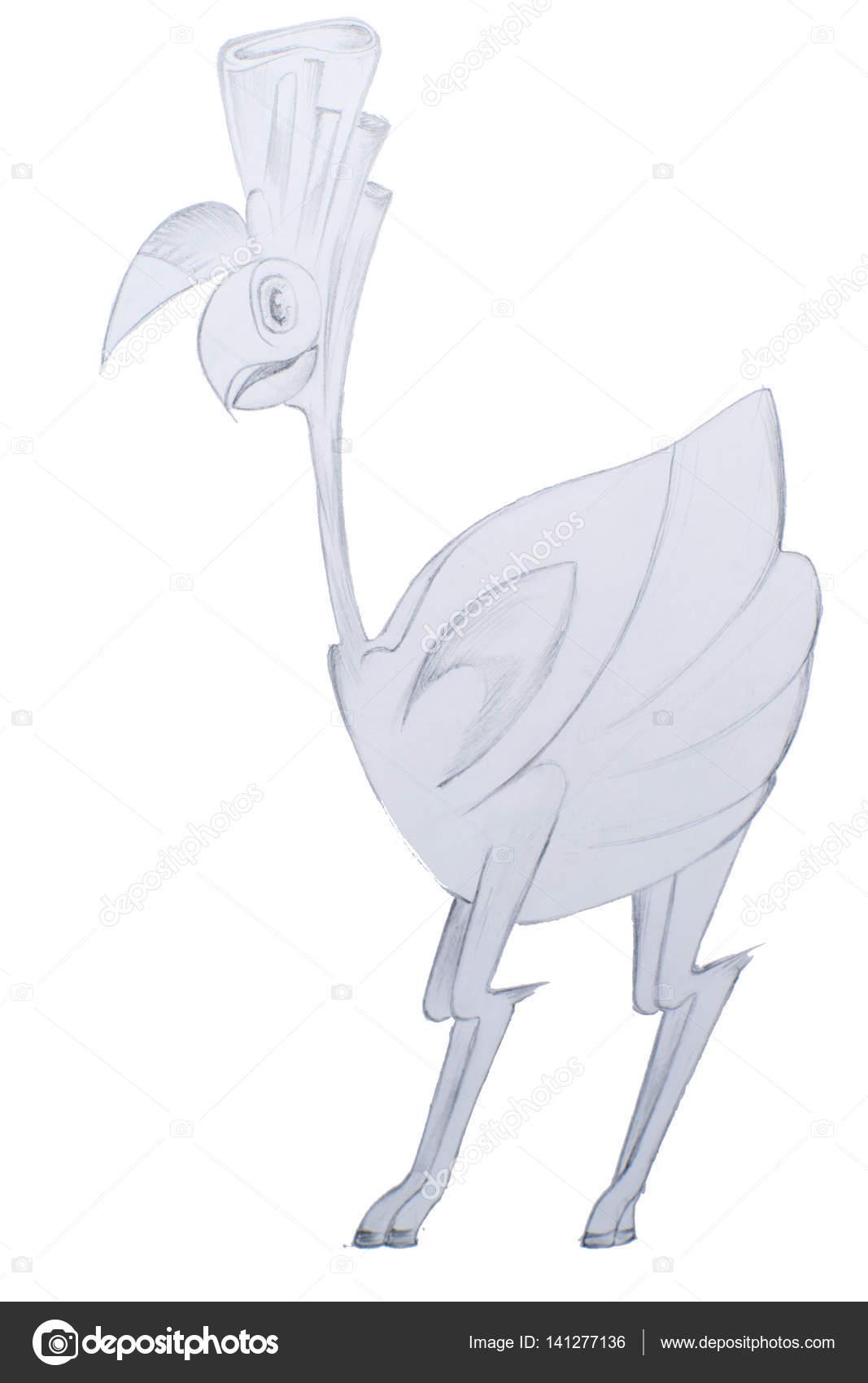 Ptak Rysunek Nowoczesny Ołówek Zdjęcie Stockowe Lenanichizhenova