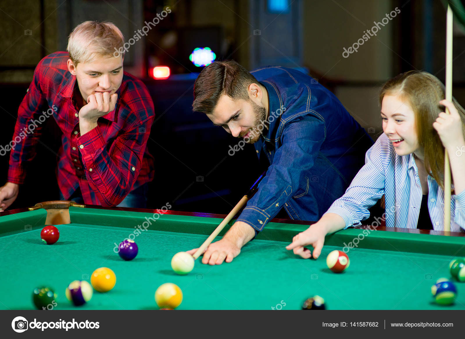 billard game played but two guys that start playing