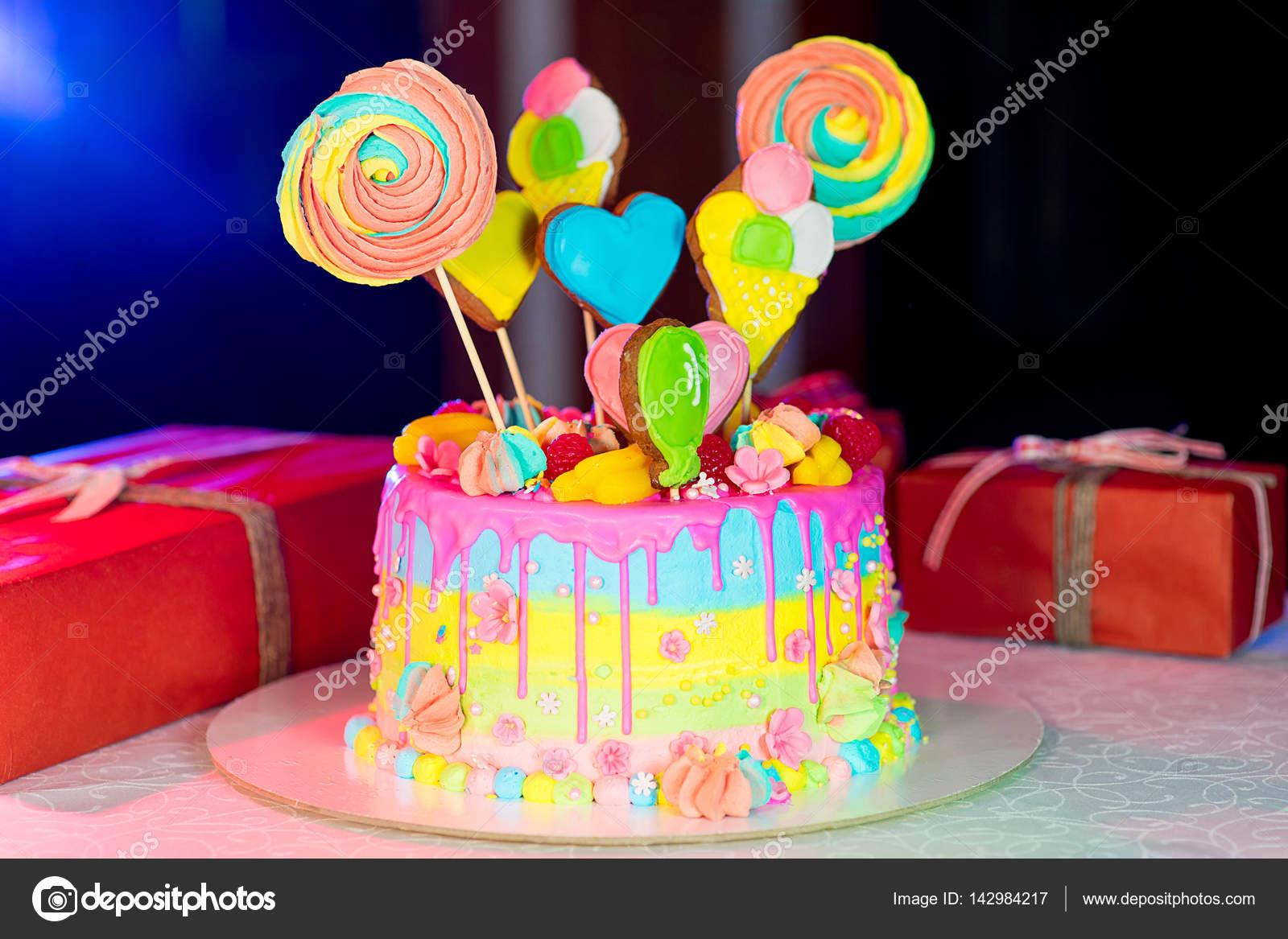 Swell Large Birthday Cake On The Table Stock Photo C Lenanichizhenova Funny Birthday Cards Online Sheoxdamsfinfo