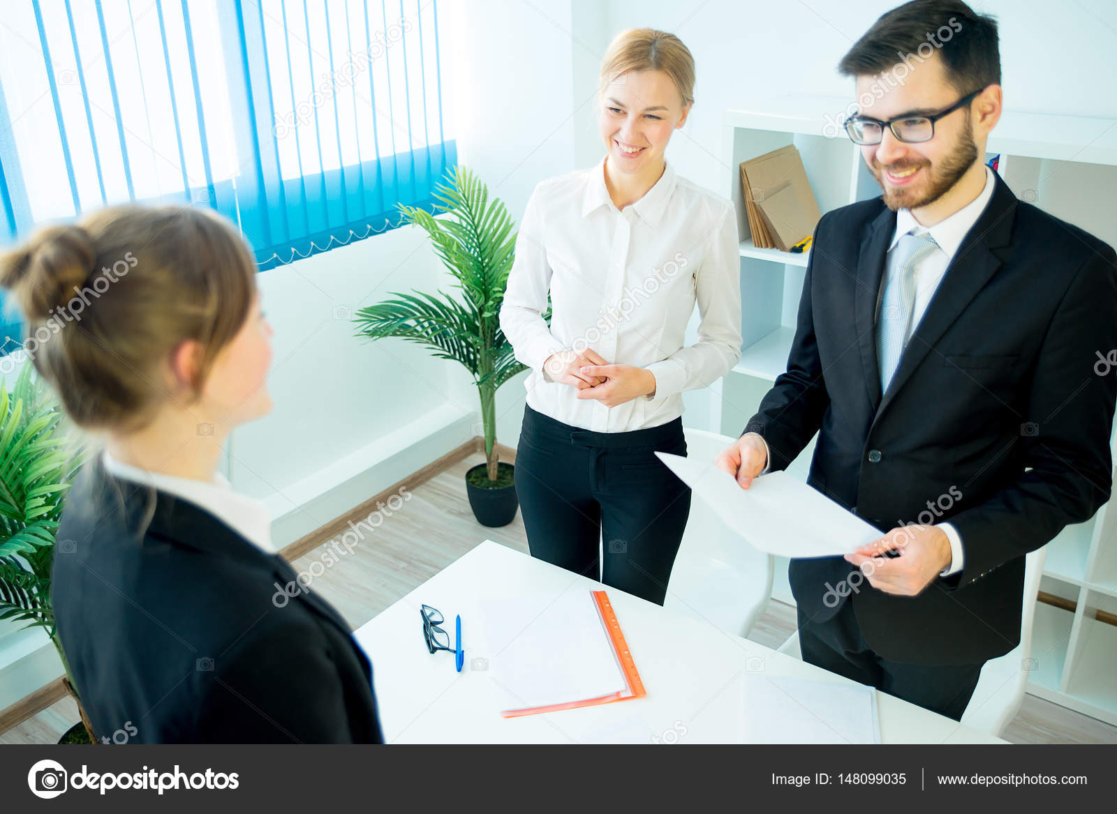 Candidate Handing Over A Resume Stock Photo Lenanichizhenova